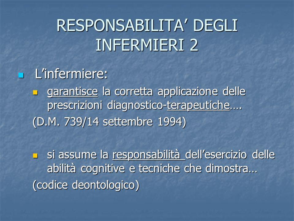 RESPONSABILITA DEGLI INFERMIERI 2 Linfermiere: Linfermiere: garantisce la corretta applicazione delle prescrizioni diagnostico-terapeutiche…. garantis