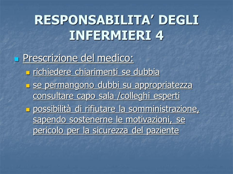 RESPONSABILITA DEGLI INFERMIERI 4 Prescrizione del medico: Prescrizione del medico: richiedere chiarimenti se dubbia richiedere chiarimenti se dubbia