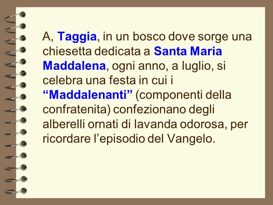 A, Taggia, in un bosco dove sorge una chiesetta dedicata a Santa Maria Maddalena, ogni anno, a luglio, si celebra una festa in cui iMaddalenanti(compo