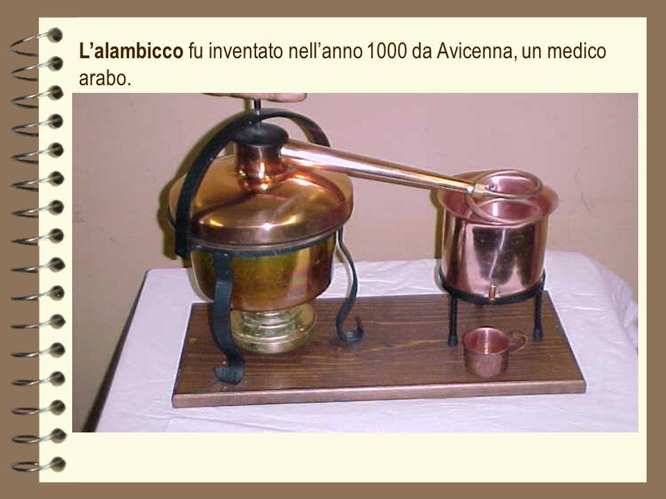 Lalambicco fu inventato nellanno 1000 da Avicenna, un medico arabo.