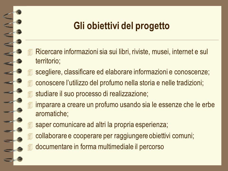 Gli obiettivi del progetto 4 Ricercare informazioni sia sui libri, riviste, musei, internet e sul territorio; 4 scegliere, classificare ed elaborare i