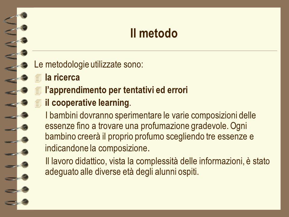 Il metodo Le metodologie utilizzate sono: 4 la ricerca 4 lapprendimento per tentativi ed errori 4 il cooperative learning. I bambini dovranno sperimen