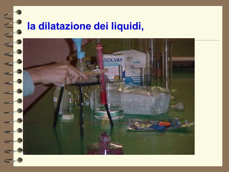 la dilatazione dei liquidi,