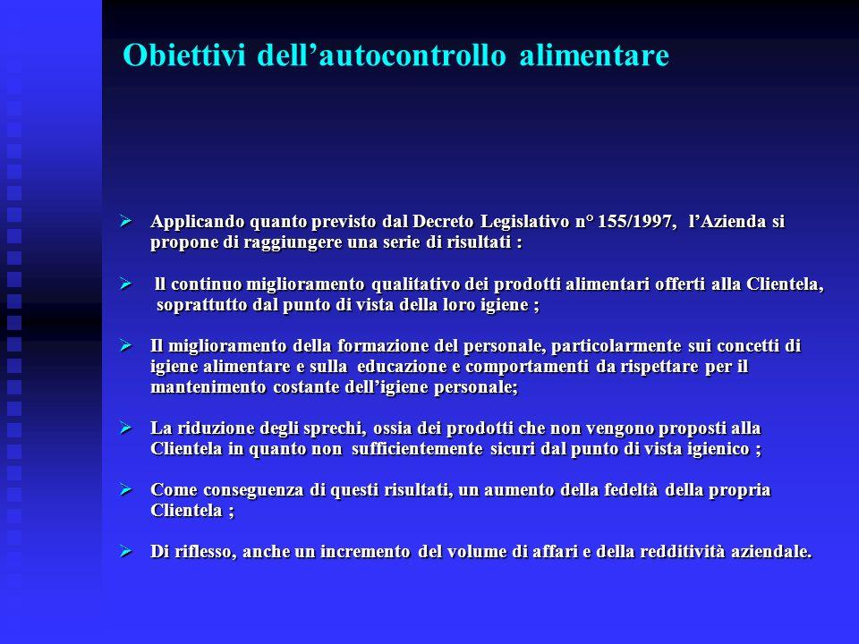 Obiettivi dellautocontrollo alimentare Applicando quanto previsto dal Decreto Legislativo n° 155/1997, lAzienda si propone di raggiungere una serie di