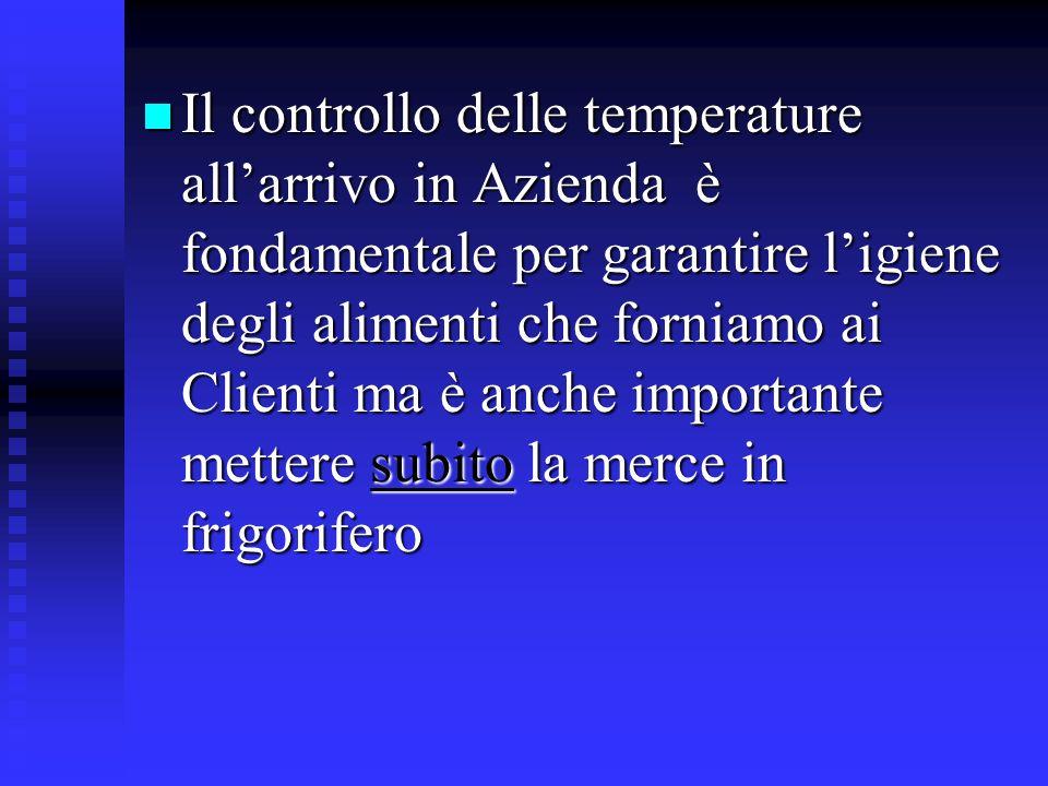 subito Il controllo delle temperature allarrivo in Azienda è fondamentale per garantire ligiene degli alimenti che forniamo ai Clienti ma è anche impo