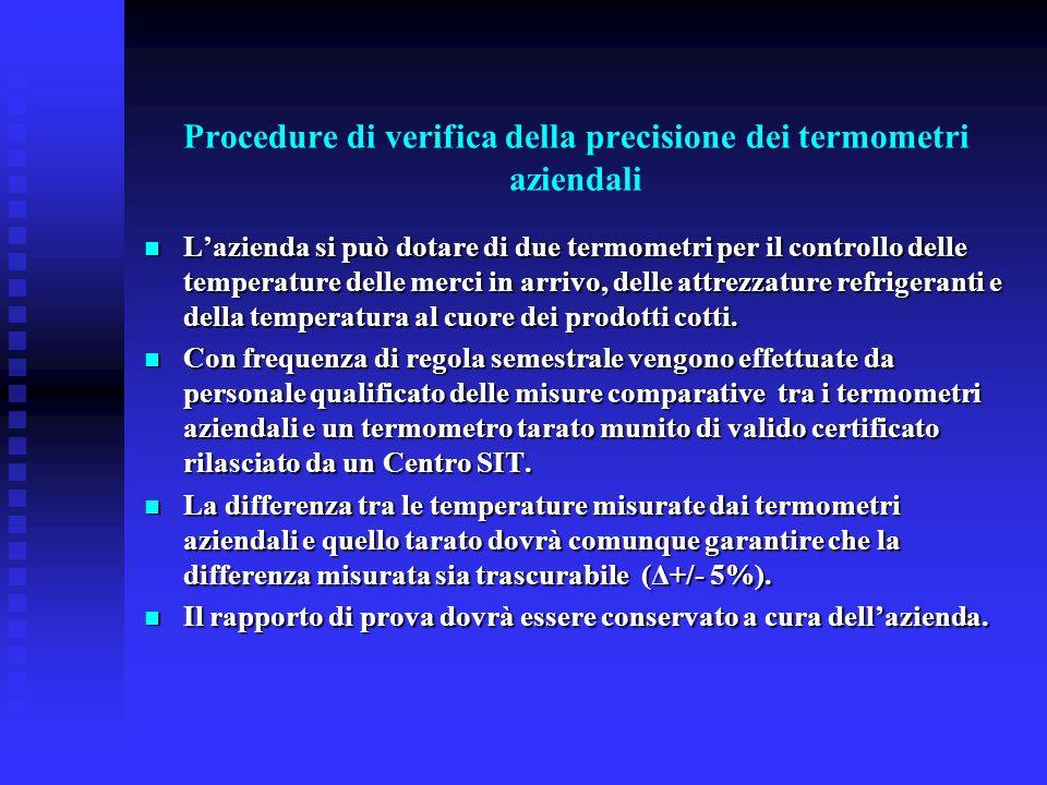 Procedure di verifica della precisione dei termometri aziendali Lazienda si può dotare di due termometri per il controllo delle temperature delle merc