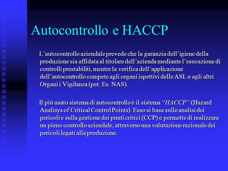 Autocontrollo e HACCP Lautocontrollo aziendale prevede che la garanzia delligiene della produzione sia affidata al titolare dellazienda mediante lesec