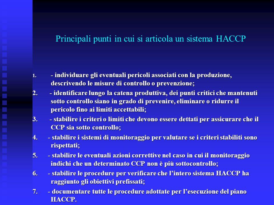 Principali punti in cui si articola un sistema HACCP 1. - individuare gli eventuali pericoli associati con la produzione, descrivendo le misure di con