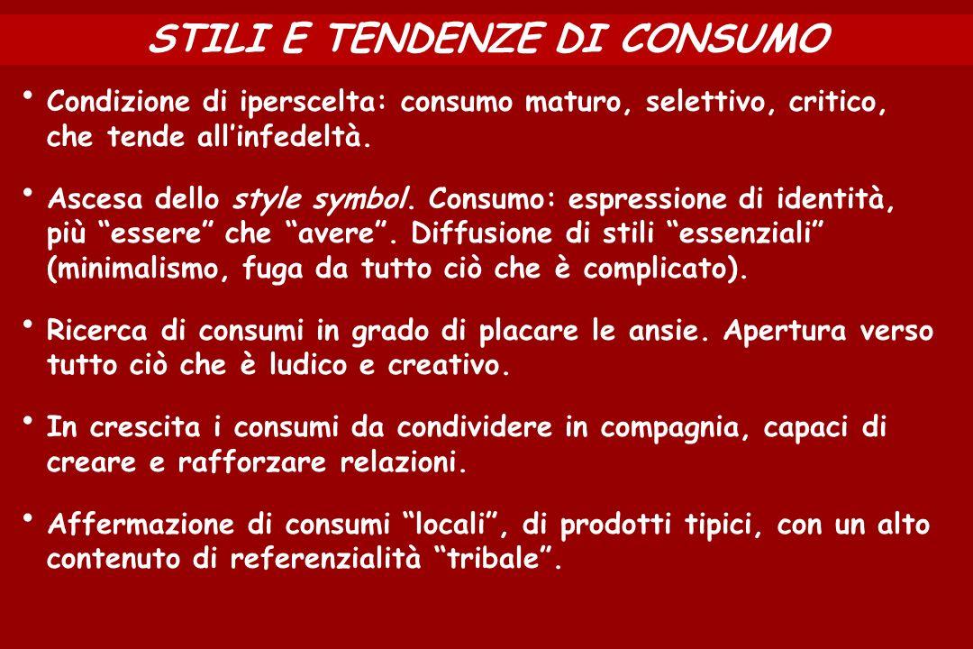 STILI E TENDENZE DI CONSUMO Condizione di iperscelta: consumo maturo, selettivo, critico, che tende allinfedeltà. Ascesa dello style symbol. Consumo: