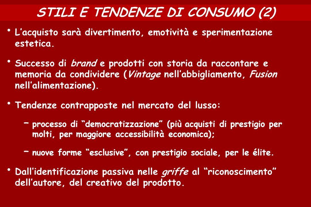 STILI E TENDENZE DI CONSUMO (2) Lacquisto sarà divertimento, emotività e sperimentazione estetica.