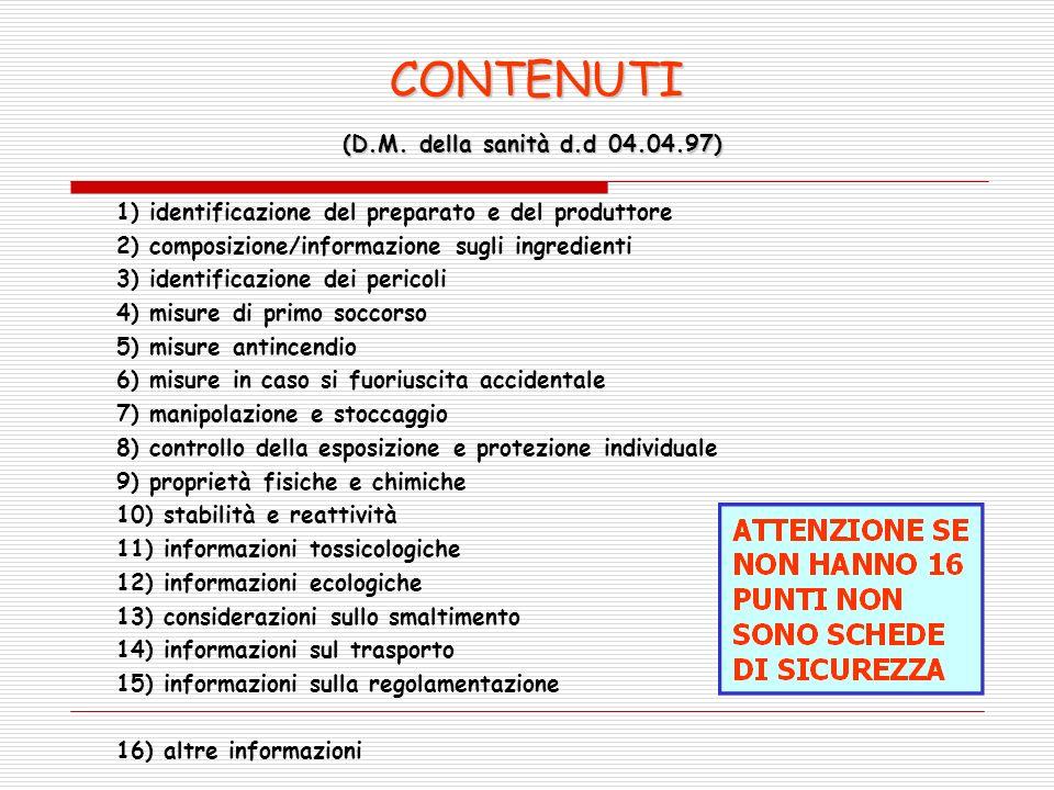 (D.M. della sanità d.d 04.04.97) (D.M. della sanità d.d 04.04.97) 1) identificazione del preparato e del produttore 2) composizione/informazione sugli