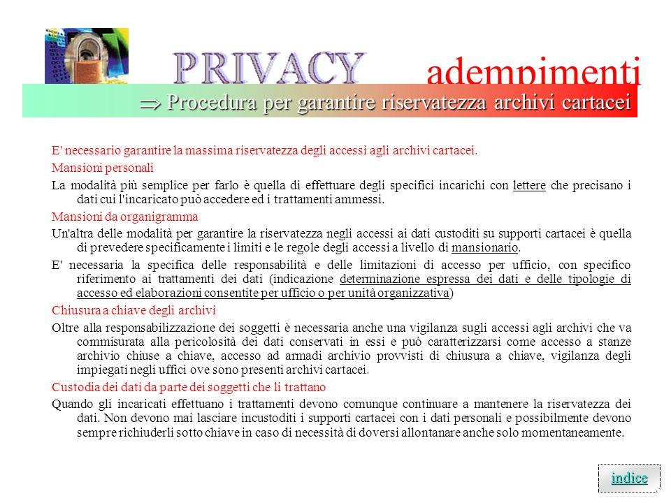 adempimenti E necessario garantire la massima riservatezza degli accessi agli archivi cartacei.