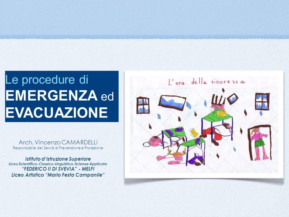 Le procedure di EMERGENZA ed EVACUAZIONE Arch. Vincenzo CAMARDELLI Responsabile dei Servizi di Prevenzione e Protezione Istituto distruzione Superiore