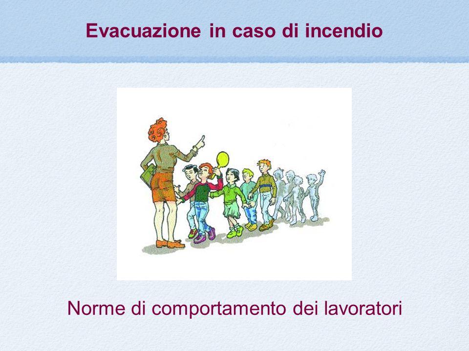 Norme di comportamento dei lavoratori Evacuazione in caso di incendio