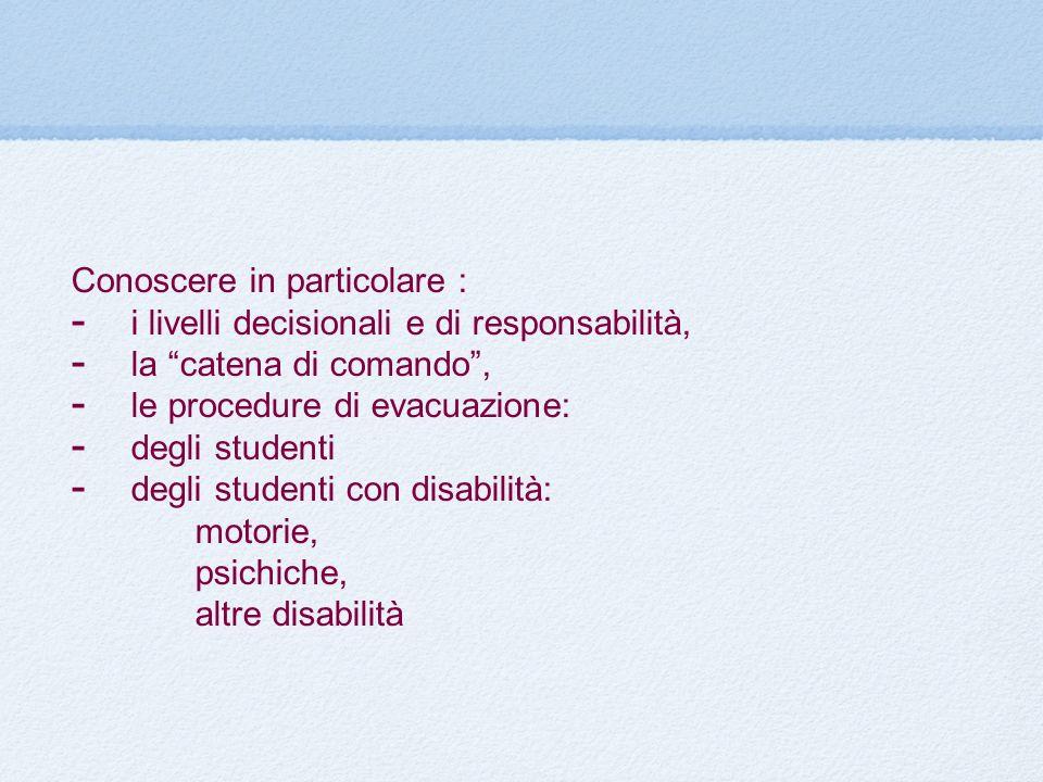 Conoscere in particolare : i livelli decisionali e di responsabilità, la catena di comando, le procedure di evacuazione: degli studenti degli studenti