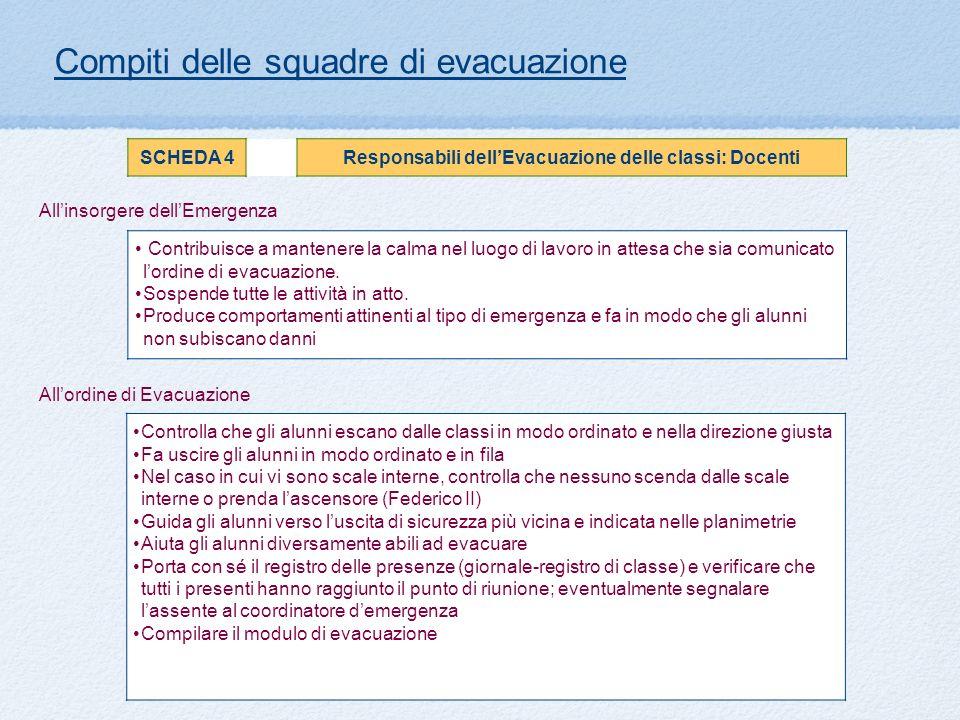 Allinsorgere dellEmergenza Compiti delle squadre di evacuazione SCHEDA 4Responsabili dellEvacuazione delle classi: Docenti Contribuisce a mantenere la