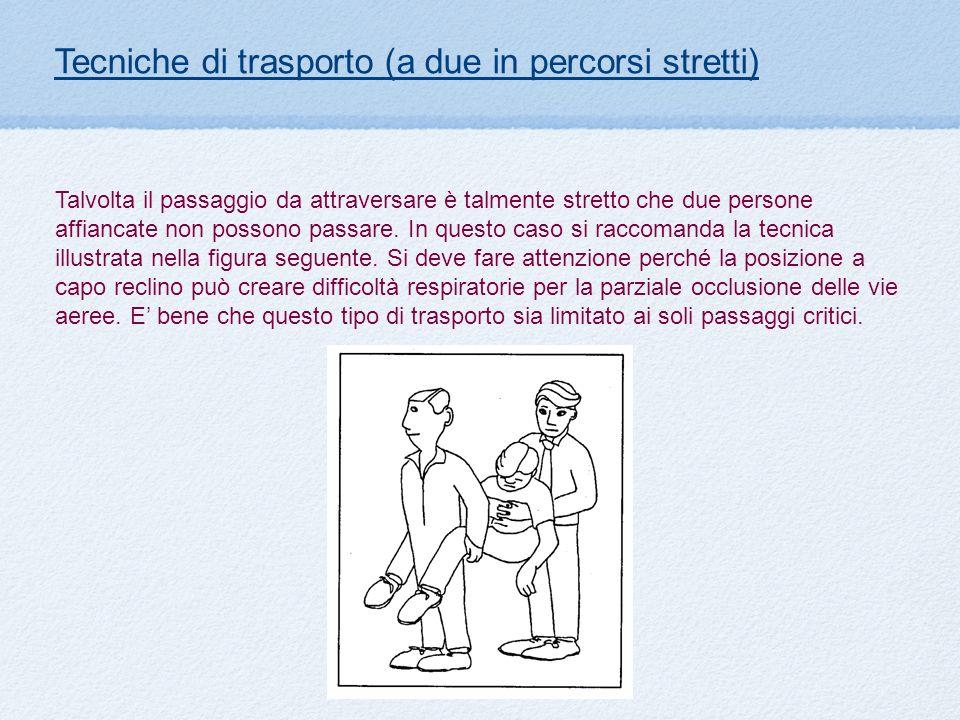 Tecniche di trasporto (a due in percorsi stretti) Talvolta il passaggio da attraversare è talmente stretto che due persone affiancate non possono pass