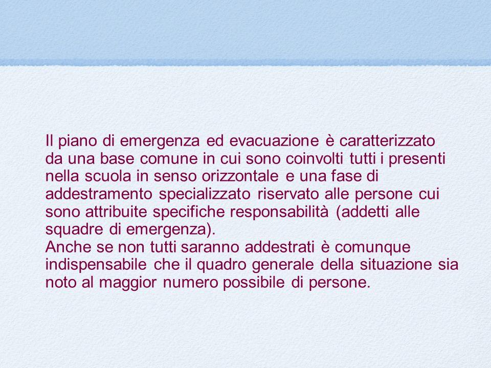 Il piano di emergenza ed evacuazione è caratterizzato da una base comune in cui sono coinvolti tutti i presenti nella scuola in senso orizzontale e un