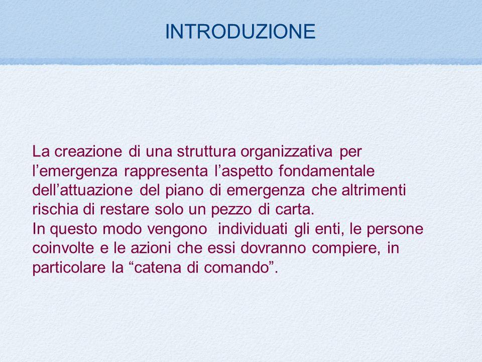 INTRODUZIONE La creazione di una struttura organizzativa per lemergenza rappresenta laspetto fondamentale dellattuazione del piano di emergenza che al