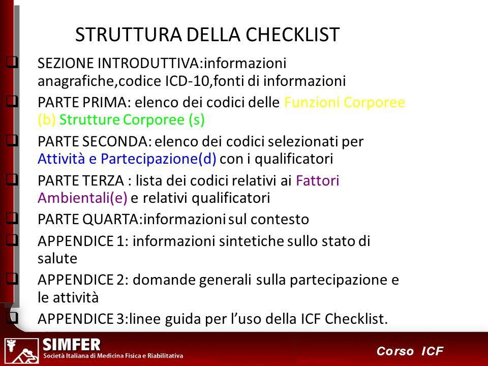 10 Corso ICF STRUTTURA DELLA CHECKLIST SEZIONE INTRODUTTIVA:informazioni anagrafiche,codice ICD-10,fonti di informazioni PARTE PRIMA: elenco dei codici delle Funzioni Corporee (b) Strutture Corporee (s) PARTE SECONDA: elenco dei codici selezionati per Attività e Partecipazione(d) con i qualificatori PARTE TERZA : lista dei codici relativi ai Fattori Ambientali(e) e relativi qualificatori PARTE QUARTA:informazioni sul contesto APPENDICE 1: informazioni sintetiche sullo stato di salute APPENDICE 2: domande generali sulla partecipazione e le attività APPENDICE 3:linee guida per luso della ICF Checklist.