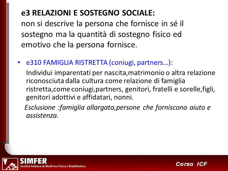 103 Corso ICF e3 RELAZIONI E SOSTEGNO SOCIALE: non si descrive la persona che fornisce in sé il sostegno ma la quantità di sostegno fisico ed emotivo