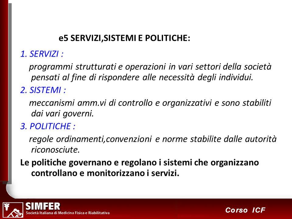 109 Corso ICF e5 SERVIZI,SISTEMI E POLITICHE: 1. SERVIZI : programmi strutturati e operazioni in vari settori della società pensati al fine di rispond