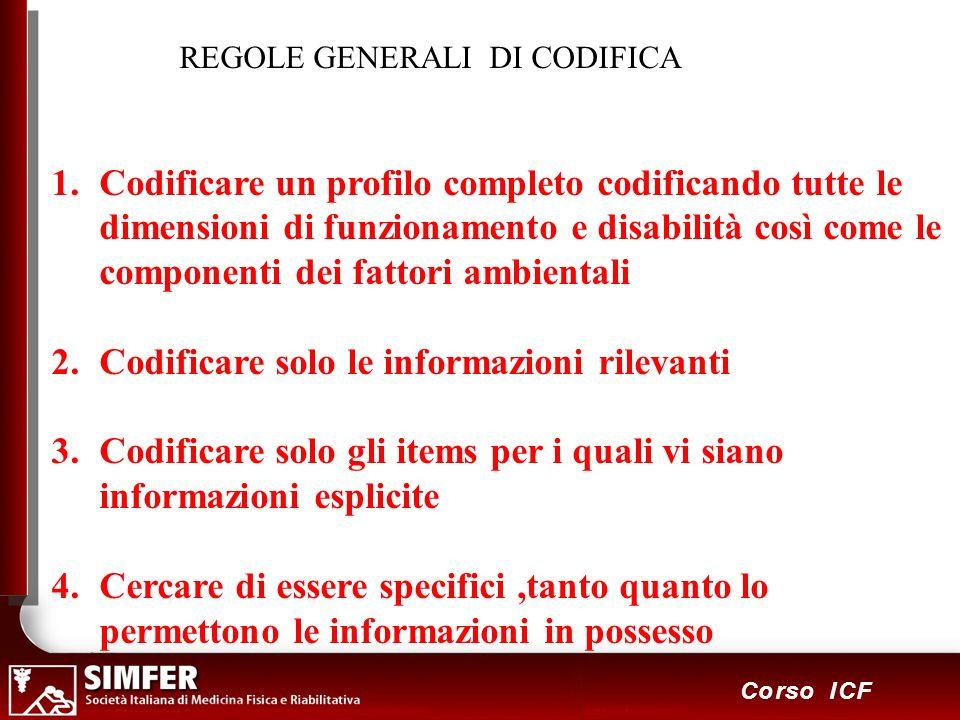 115 Corso ICF REGOLE GENERALI DI CODIFICA 1.Codificare un profilo completo codificando tutte le dimensioni di funzionamento e disabilità così come le
