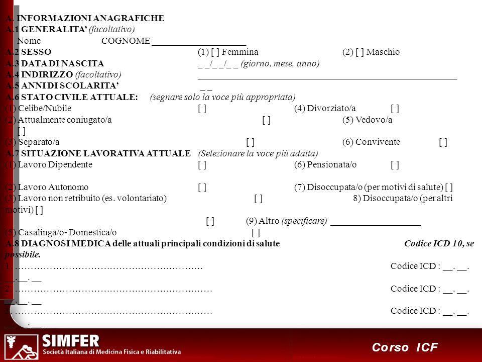 13 Corso ICF A. INFORMAZIONI ANAGRAFICHE A.1 GENERALITA (facoltativo) Nome COGNOME ____________________ A.2 SESSO(1) [ ] Femmina (2) [ ] Maschio A.3 D