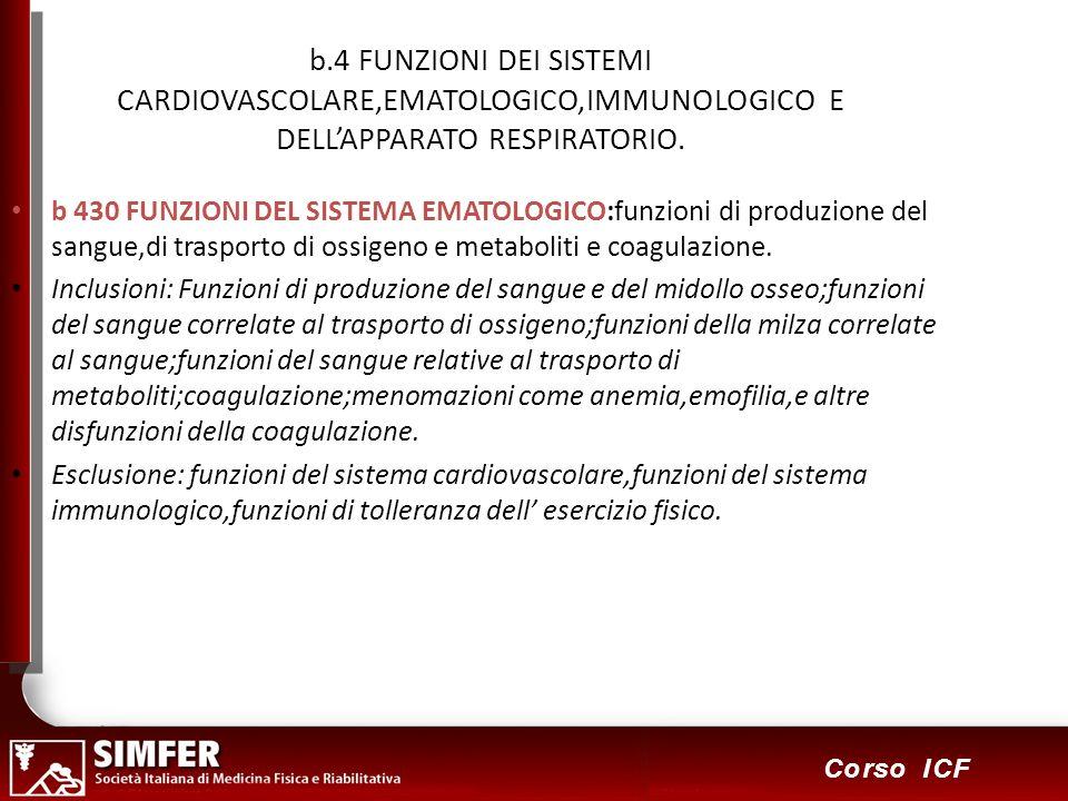 31 Corso ICF b.4 FUNZIONI DEI SISTEMI CARDIOVASCOLARE,EMATOLOGICO,IMMUNOLOGICO E DELLAPPARATO RESPIRATORIO. b 430 FUNZIONI DEL SISTEMA EMATOLOGICO:fun