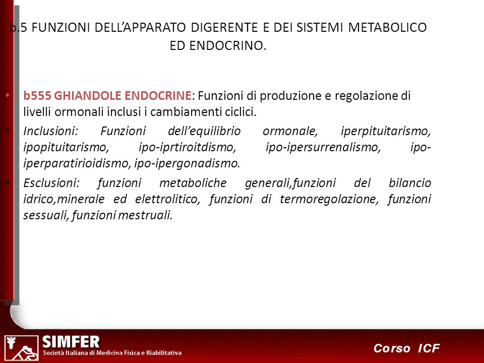 37 Corso ICF b.5 FUNZIONI DELLAPPARATO DIGERENTE E DEI SISTEMI METABOLICO ED ENDOCRINO. b555 GHIANDOLE ENDOCRINE: Funzioni di produzione e regolazione