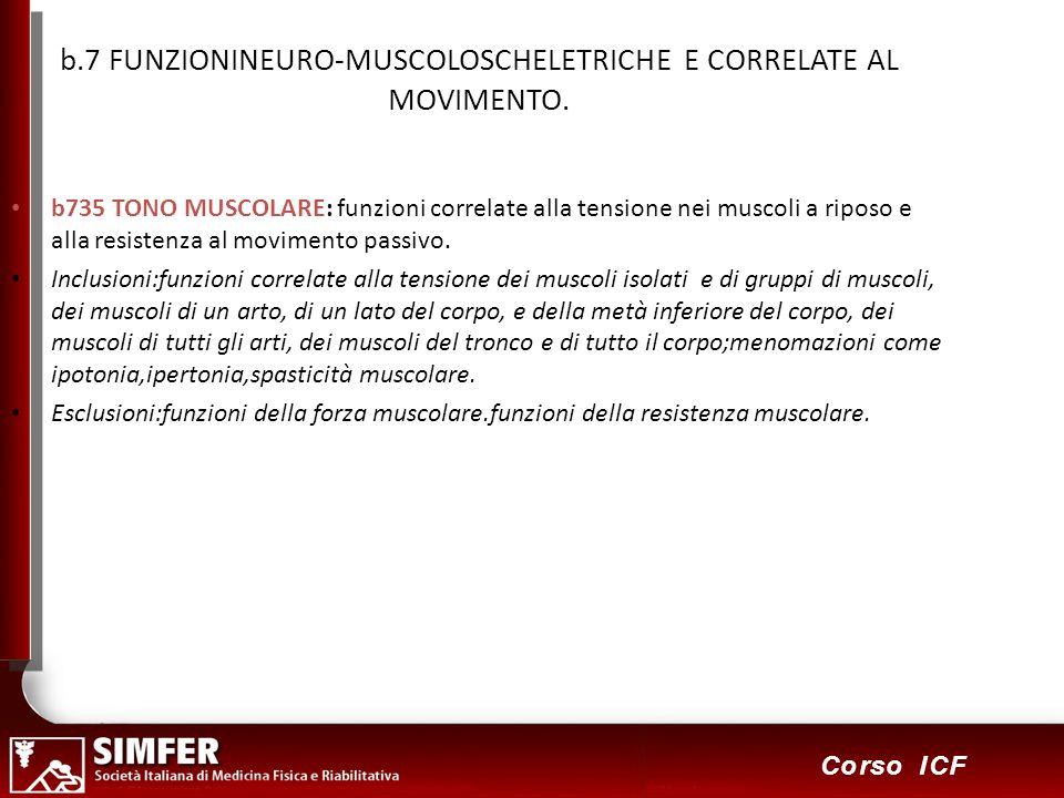45 Corso ICF b.7 FUNZIONINEURO-MUSCOLOSCHELETRICHE E CORRELATE AL MOVIMENTO. b735 TONO MUSCOLARE: funzioni correlate alla tensione nei muscoli a ripos