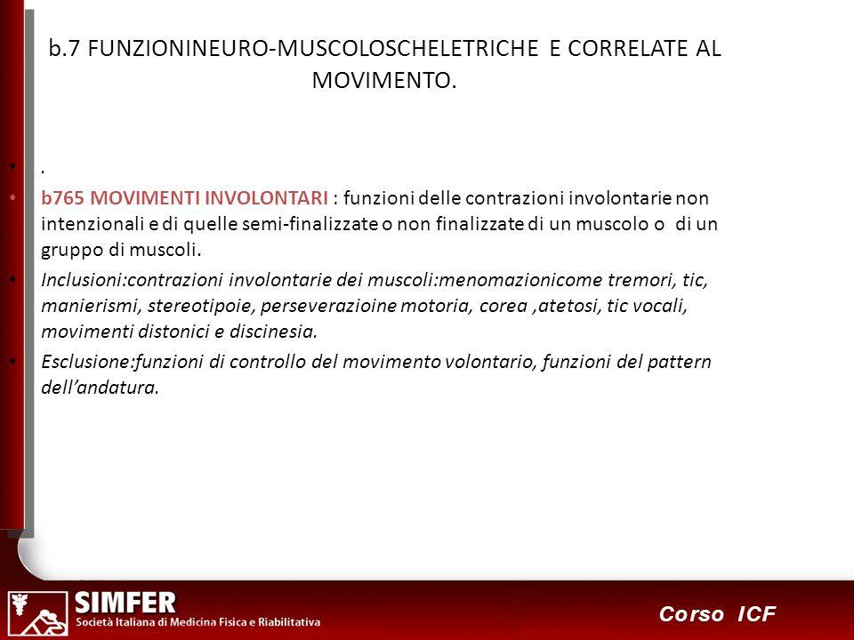 46 Corso ICF b.7 FUNZIONINEURO-MUSCOLOSCHELETRICHE E CORRELATE AL MOVIMENTO.. b765 MOVIMENTI INVOLONTARI : funzioni delle contrazioni involontarie non