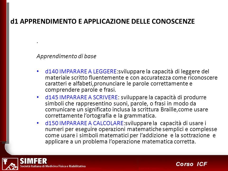 56 Corso ICF d1 APPRENDIMENTO E APPLICAZIONE DELLE CONOSCENZE.