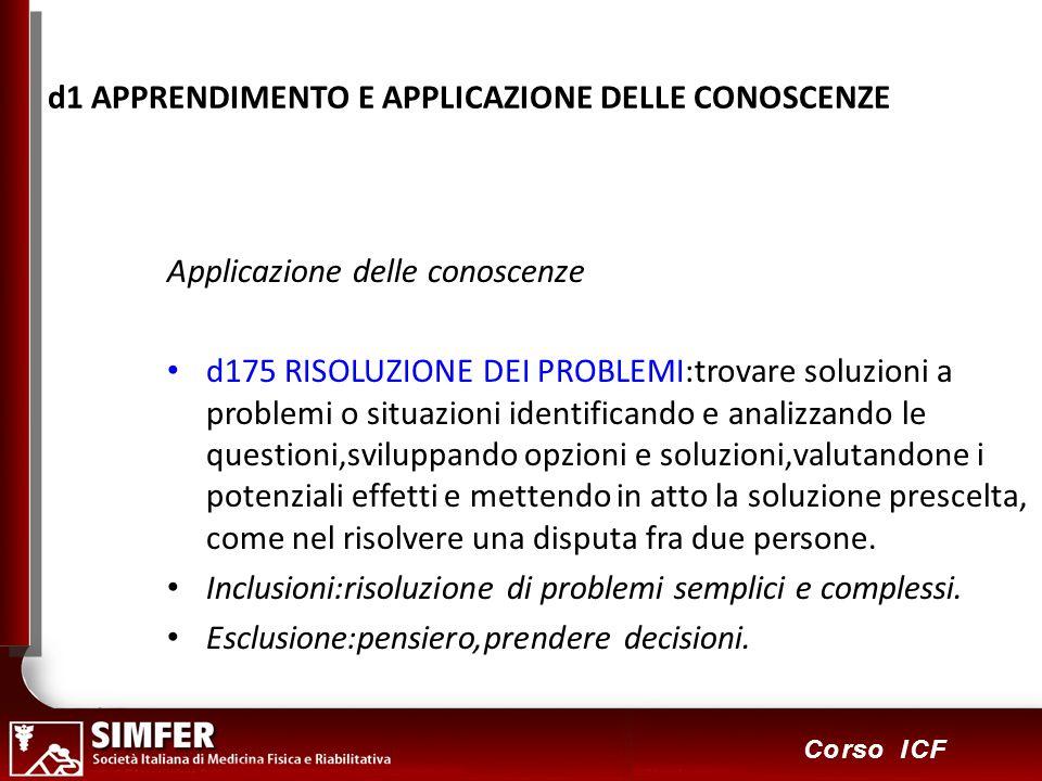 57 Corso ICF d1 APPRENDIMENTO E APPLICAZIONE DELLE CONOSCENZE Applicazione delle conoscenze d175 RISOLUZIONE DEI PROBLEMI:trovare soluzioni a problemi