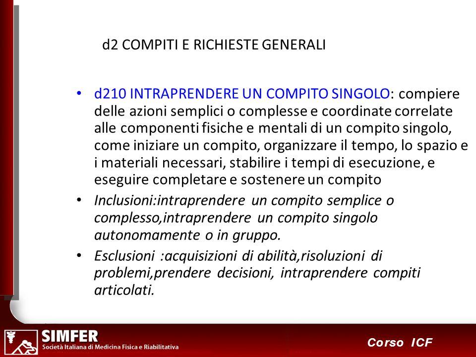 59 Corso ICF d2 COMPITI E RICHIESTE GENERALI d210 INTRAPRENDERE UN COMPITO SINGOLO: compiere delle azioni semplici o complesse e coordinate correlate