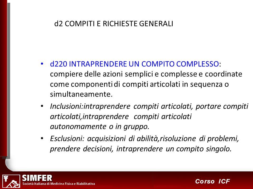 60 Corso ICF d2 COMPITI E RICHIESTE GENERALI d220 INTRAPRENDERE UN COMPITO COMPLESSO: compiere delle azioni semplici e complesse e coordinate come componenti di compiti articolati in sequenza o simultaneamente.