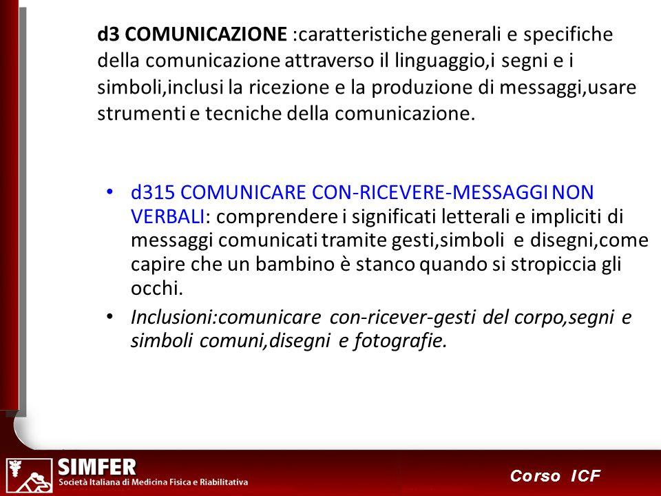 62 Corso ICF d3 COMUNICAZIONE :caratteristiche generali e specifiche della comunicazione attraverso il linguaggio,i segni e i simboli,inclusi la ricez