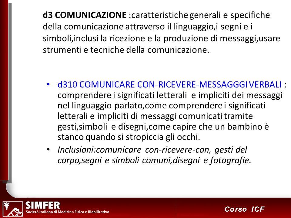 63 Corso ICF d3 COMUNICAZIONE :caratteristiche generali e specifiche della comunicazione attraverso il linguaggio,i segni e i simboli,inclusi la ricezione e la produzione di messaggi,usare strumenti e tecniche della comunicazione.