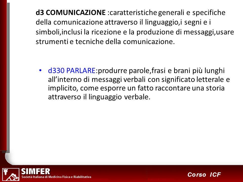 64 Corso ICF d3 COMUNICAZIONE :caratteristiche generali e specifiche della comunicazione attraverso il linguaggio,i segni e i simboli,inclusi la ricezione e la produzione di messaggi,usare strumenti e tecniche della comunicazione.