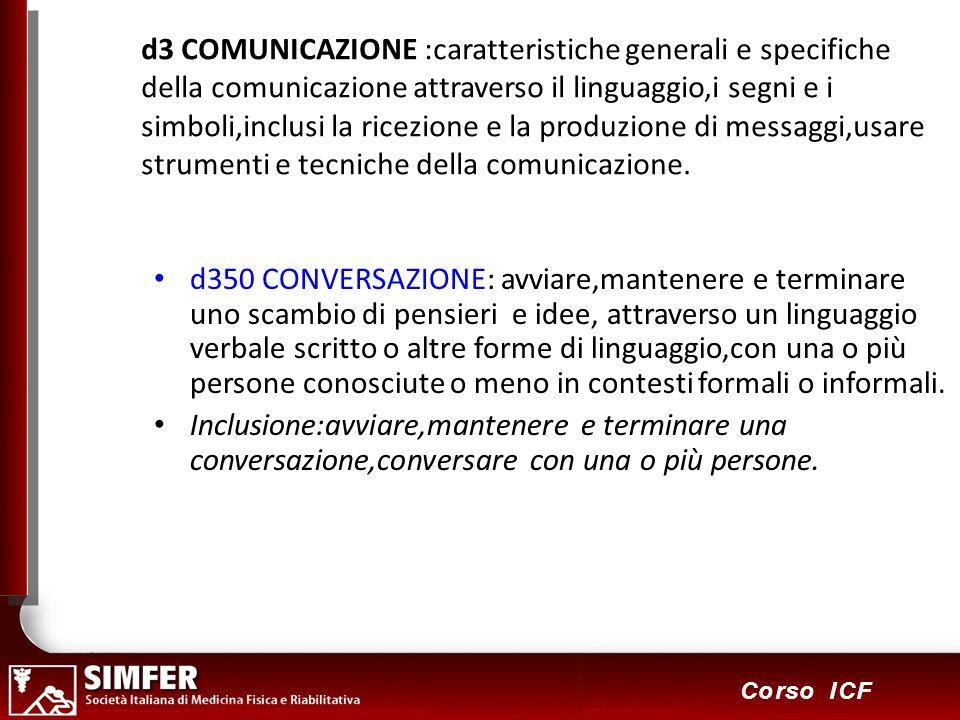 66 Corso ICF d3 COMUNICAZIONE :caratteristiche generali e specifiche della comunicazione attraverso il linguaggio,i segni e i simboli,inclusi la ricezione e la produzione di messaggi,usare strumenti e tecniche della comunicazione.