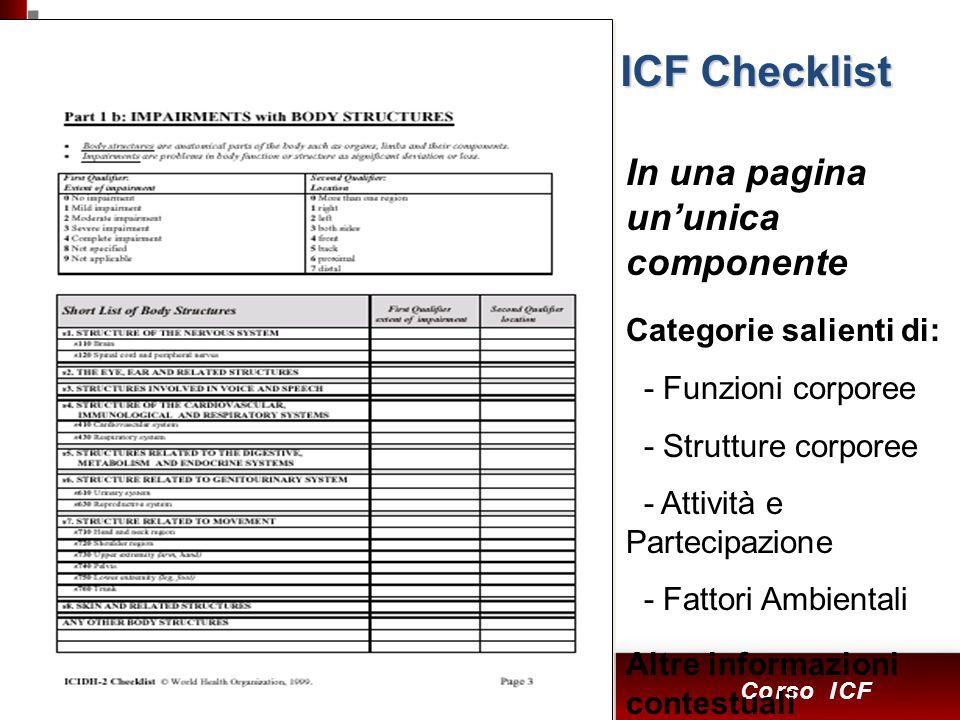 8 Corso ICF In una pagina ununica componente Categorie salienti di: - Funzioni corporee - Strutture corporee - Attività e Partecipazione - Fattori Ambientali Altre informazioni contestuali ICF Checklist