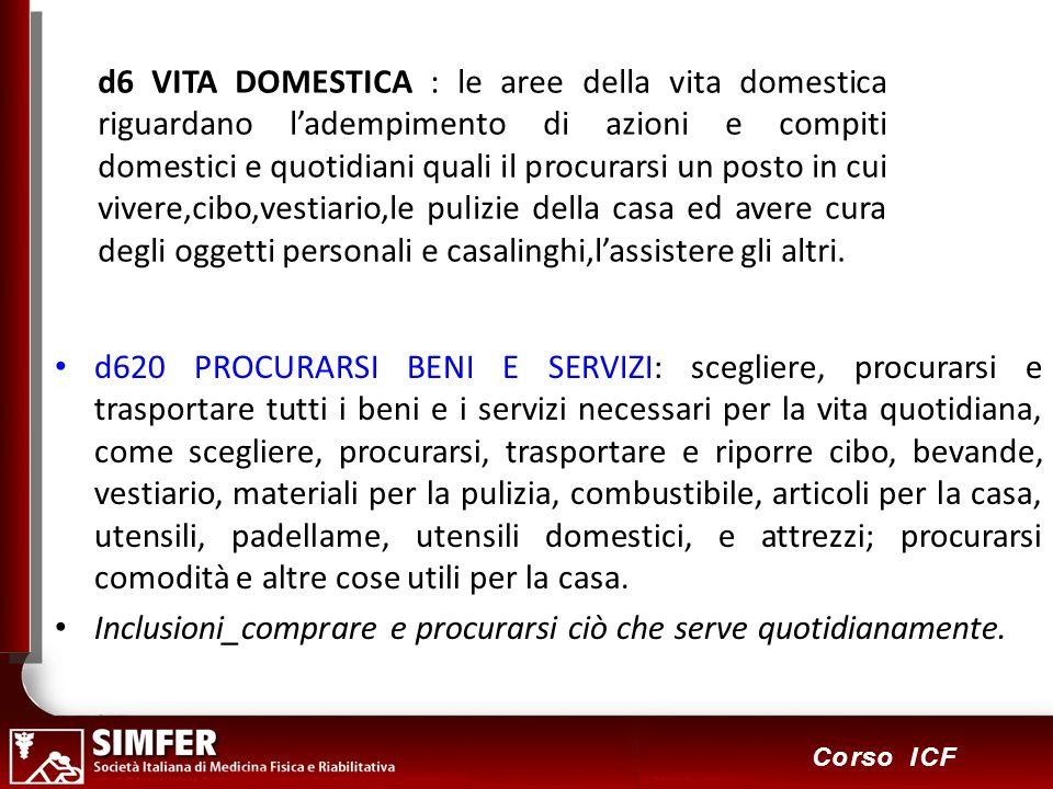 82 Corso ICF d6 VITA DOMESTICA : le aree della vita domestica riguardano ladempimento di azioni e compiti domestici e quotidiani quali il procurarsi u