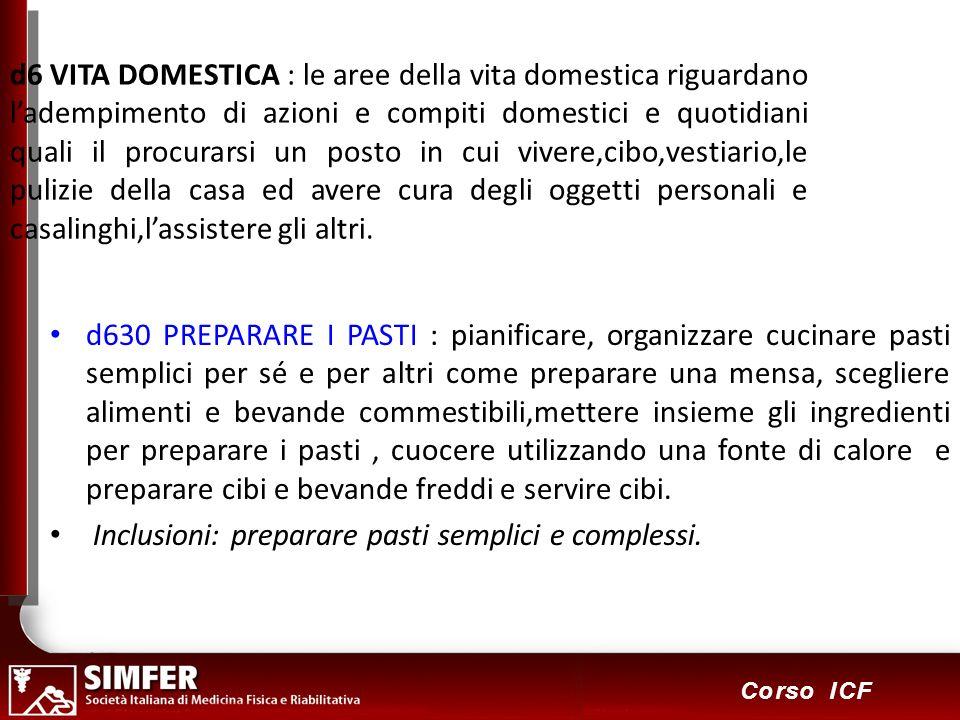 83 Corso ICF d6 VITA DOMESTICA : le aree della vita domestica riguardano ladempimento di azioni e compiti domestici e quotidiani quali il procurarsi u