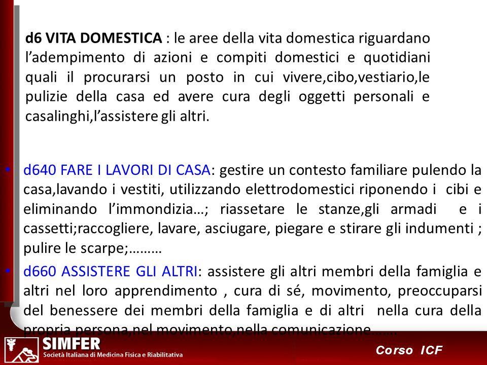 84 Corso ICF d6 VITA DOMESTICA : le aree della vita domestica riguardano ladempimento di azioni e compiti domestici e quotidiani quali il procurarsi u