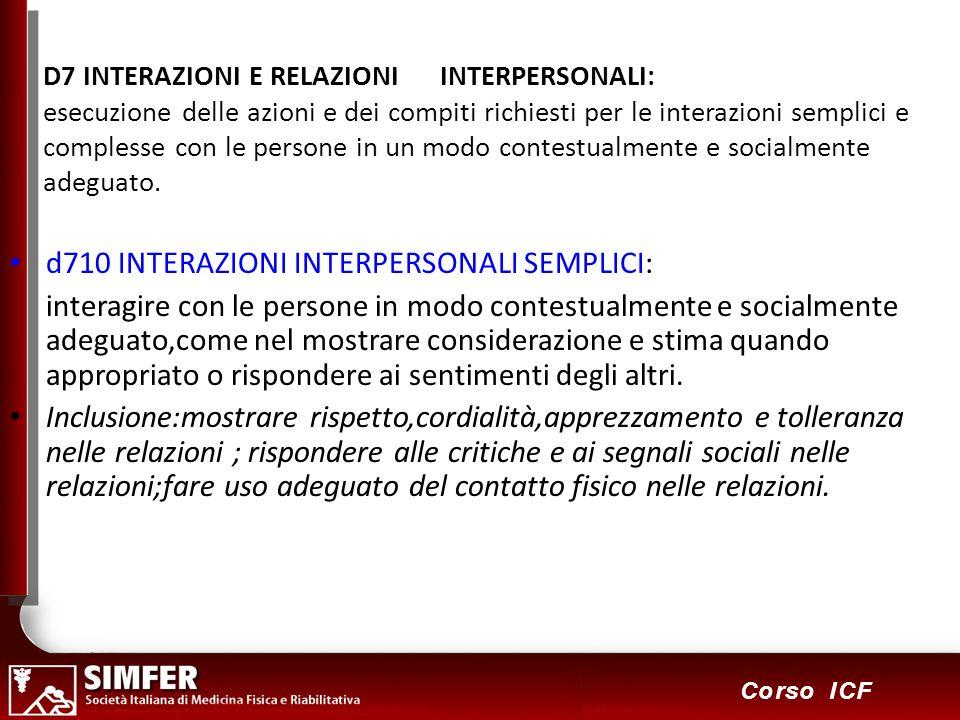 86 Corso ICF D7 INTERAZIONI E RELAZIONI INTERPERSONALI: esecuzione delle azioni e dei compiti richiesti per le interazioni semplici e complesse con le persone in un modo contestualmente e socialmente adeguato.