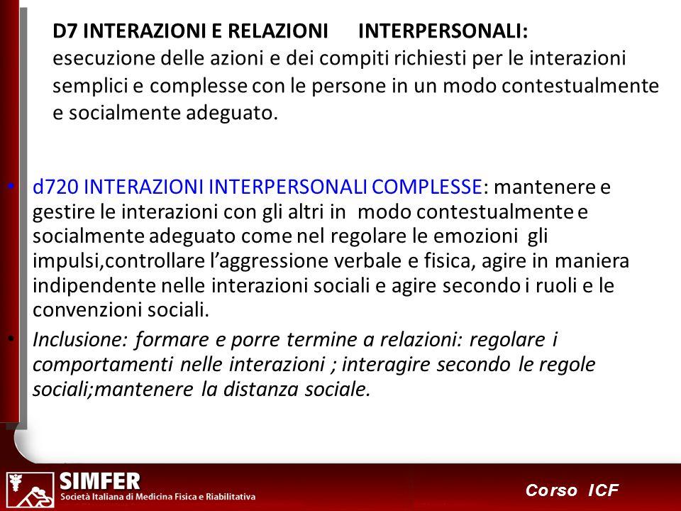 87 Corso ICF D7 INTERAZIONI E RELAZIONI INTERPERSONALI: esecuzione delle azioni e dei compiti richiesti per le interazioni semplici e complesse con le persone in un modo contestualmente e socialmente adeguato.