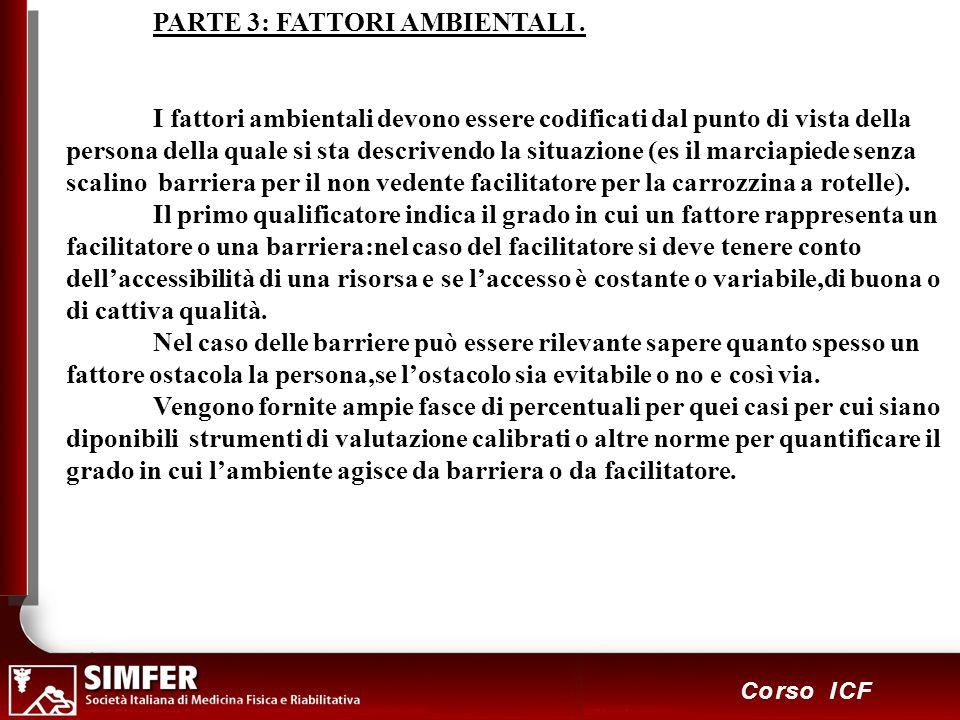 96 Corso ICF PARTE 3: FATTORI AMBIENTALI. I fattori ambientali devono essere codificati dal punto di vista della persona della quale si sta descrivend