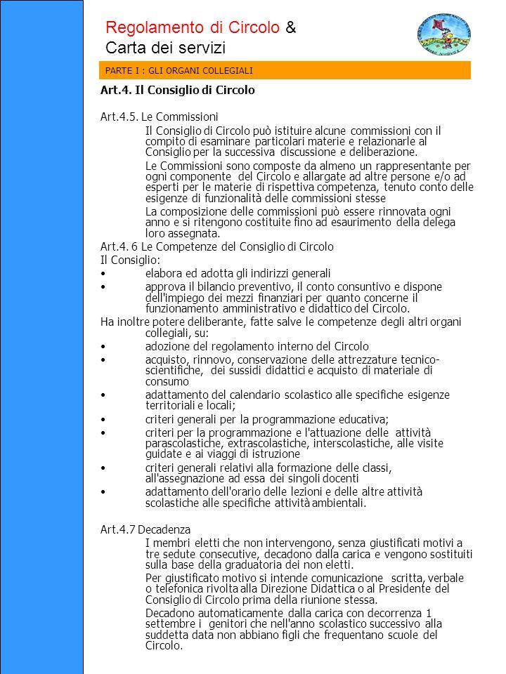 Art.4. Il Consiglio di Circolo Art.4.5.