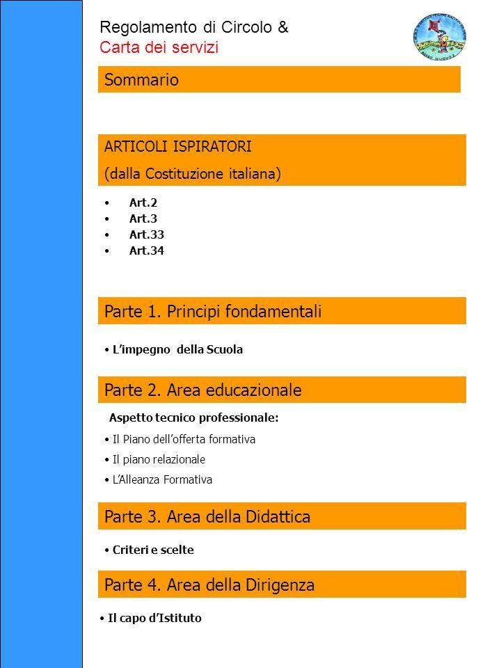 Art.2 Art.3 Art.33 Art.34 Regolamento di Circolo & Carta dei servizi ARTICOLI ISPIRATORI (dalla Costituzione italiana) Parte 2.
