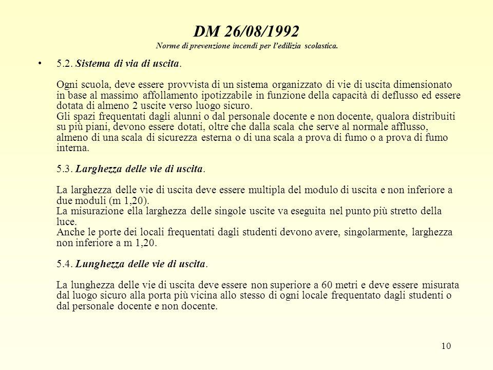 10 DM 26/08/1992 Norme di prevenzione incendi per ledilizia scolastica. 5.2. Sistema di via di uscita. Ogni scuola, deve essere provvista di un sistem